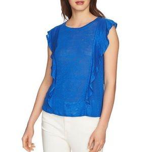 NWT 1.State Ruffle Linen Top in Zen Blue